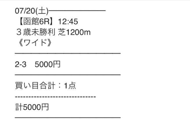 2019年7月20日函館6R