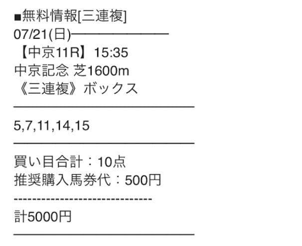 2019年7月21日中京11R 結果